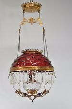 Antique Kerosene Hanging Light Cranberry Bullseye Shade Cut Crystals Blue Jewels