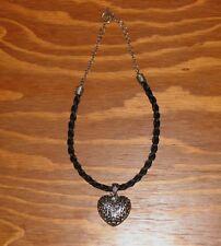 "Woven Black Horse Hair Necklace Heart Filigree Pendant & Glass Diamond Charm 18"""
