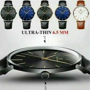 Trendy Men Minimalist Ultra-Thin Slim Leather Strap Stainless Steel Quartz Watch