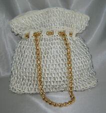 Vintage SIMON New York MISTER ERNEST (Italy) Clear Beaded White Straw Bag Purse