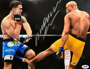 Anderson Silva Autographed 11 x 14 UFC Photo Signed PSA DNA ITP Sticker Only