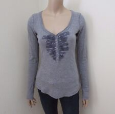 Abercrombie Womens Sequin Embellished Top Size XS Shirt Gray Long Sleeve