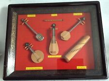 Collectible Chinese Bamboo Miniature Musical Instruments Shadow Box Glass Frame