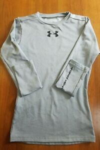 Under Armour Gray Long Sleeve Coldgear Shirt Youth Small  Pre-Owned