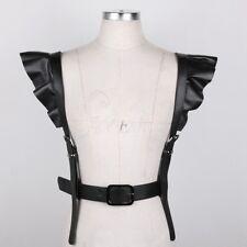 Women Punk Straps PU Leather Vest Body Chest Harness Chain Waist Belt Cincher