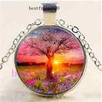 Goddess Tree Of Life Cabochon Glass Dome Silver Chain Pendant Necklace