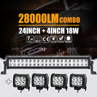 "24INCH 280W CREE LED WORK LIGHT BAR +4"" 18W SPOT&FLOOD COMBO 4X4WD JEEP FORD ATV"