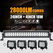 "24INCH 280W CREE LED WORK LIGHT BAR +4"" 18W SPOT&FLOOD COMBO 4X4WD JEEP FORD ATV"
