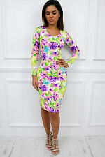 Glamzam New Womens Ladies Stretch Long Sleeve Midi Bodycon Neon Floral Dress