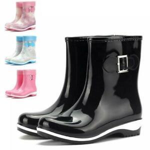 Women's Fashion Mid Calf Rain Boots Anti-Skid Ankle Short Rubber  Shoes #v