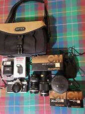 Fotocamera analogica Olympus OM1 n corpo+obiettivi+flash+borsa.