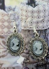 Cameo EARRINGS Tibetan Silver Resin Charms Cute Lady Head Earrings Jewellery New