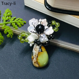 Ladies Natural Crystal Natural Turquoise brooch pin gorgeous elegant wedding