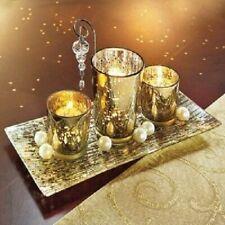 Teelichthalterset in Gold Tolle Tischdeko, Beleuchtung Deko Anrichte Kerzenschei