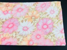 Vintage Cannon Monticello Full Flat Sheet Pink Floral Aloha Flower Power Daisy