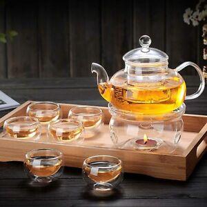 Heat Resistant Elegant Glass Tea Coffee Pot Set Infuser Teapot + Warmer + 6 Cup
