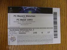 Billete De 13/03/2012: FC Bayern Munich v] [Liga de Campeones de Basilea (débil pliegues). th