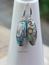 Creamy Brown and blue tone with remarkable pattern Agate Earrings Handmade ,bb3