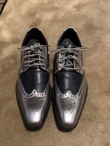 Amali Mens Dress Shoes Silver Black Wingtip -10-