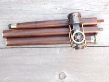 Vintage Steam Engine Model Brass Handle Wooden Walking Stick Cane Steampunk