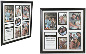 """2 Pack Collage Photo Frames 7 Pictures Black Glass Pane Wall Mount 12.25""""x12.25"""""""