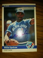 Autographed Willie Upshaw 1984 Fleer baseball card #168 Toronto Blue Jays