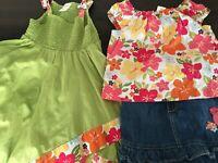 Gymboree Aloha Sunshine Lot 4T Handkerchief Tunic 3 Floral Top Bird Jean Skort 4