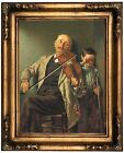 Brown The Duet 1882 Wood Framed Canvas Print Repro 12x16