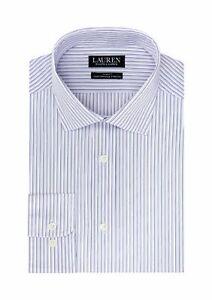 Lauren Ralph Lauren Men's Ultraflex Slim Fit Lilac Striped Dress Shirt 16 32/33