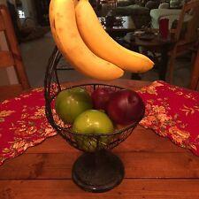 Vintage Fruit Basket Bowl Vegetable Wire Hanger Kitchen Holder w/ Banana Hook