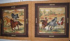 Horses Pillow panel Runnin in the Southwest SW Cotton