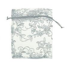 25 pcs 10cmx12cm Sachets Pochettes Feuille Cadeau Organza Mariage Fête Blanc