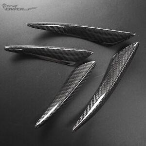 4pc Real Carbon Fiber Fender Splitter Canard Front Bumper Lip Diffuser Protector