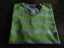 T- ShirtI I.N.C (Macys)  Men New Sz.S Gray Pebble /lime Stripe Color 100% Cotton