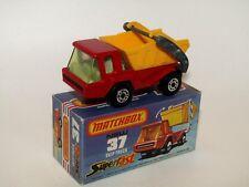Matchbox Superfast No 37 Skip Truck Light Amber Glass Black Base MIB