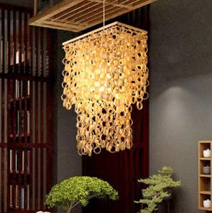 Hanging Light Waterfall Design Asia Bamboo Rattan Chandelier Pendant Layer Lamp