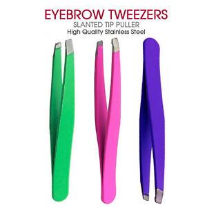 NEW EYEBROW TWEEZERS SLANTED TIP PULLER, PLUCKER, HAIR REMOVER STAINLESS STEEL