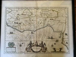 """Antique map of """"Guinea"""" c.1635 by Willem Blaeu- Nigeria, Ghana and West Africa"""