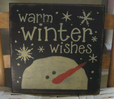 PRIMITIVE COUNTRY  SQ. WARM WINTER WISHES ~SNOWMAN SIGN