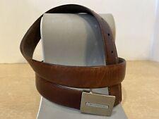 Yves Saint Laurent Mens Vintage Brown Leather Belt  Gold/silver tone Logo 34