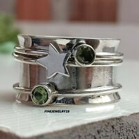 Peridot Ring 925 Sterling Silver Spinner Ring Meditation Statement Jewelry PQ12