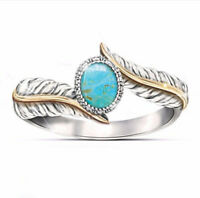 Luxury Oval Turquoise Gold 925 Silver Feather Ring Women Jewelry Gift Size 6-10