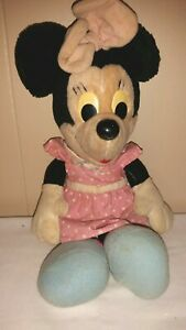 "Minnie Mouse Plush 17"" Hasbro Softies Pink Dress Bow Polka Dot Outfit Vintage"