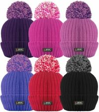 285ab8c393d Mens Ladies Thermal Pom Pom Bobble Beanie Hat Rockjock Fleece Lined Winter  Hat