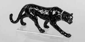 Leopard Figur 47 cm schwarz mit Halsband Tiger Panther Dekoration Neu