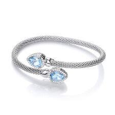 J JAZ Bethany Blue Topaz Emerald Cut Sterling Silver Mesh Bracelet Bangle