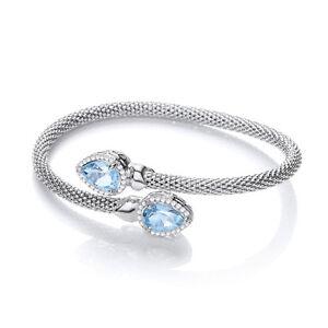 Blue Topaz Emerald Cut Charm Bangle Sterling Silver Mesh Bracelet J JAZ Bethany