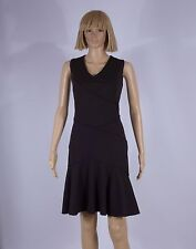 Calvin Klein Size 4 Black Seam Ribbed Flouncy Hem Sleeveless Dress NEW
