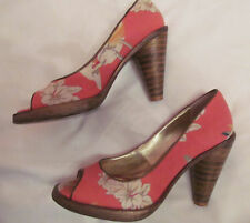 POETIC LICENCE LONDON floral tiki HAWAIIAN pin up print open toe shoes 6   ***
