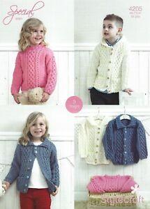 """4205 Stylecraft Special Aran Knitting Pattern Duffle Jackets & Sweater 18-28"""""""